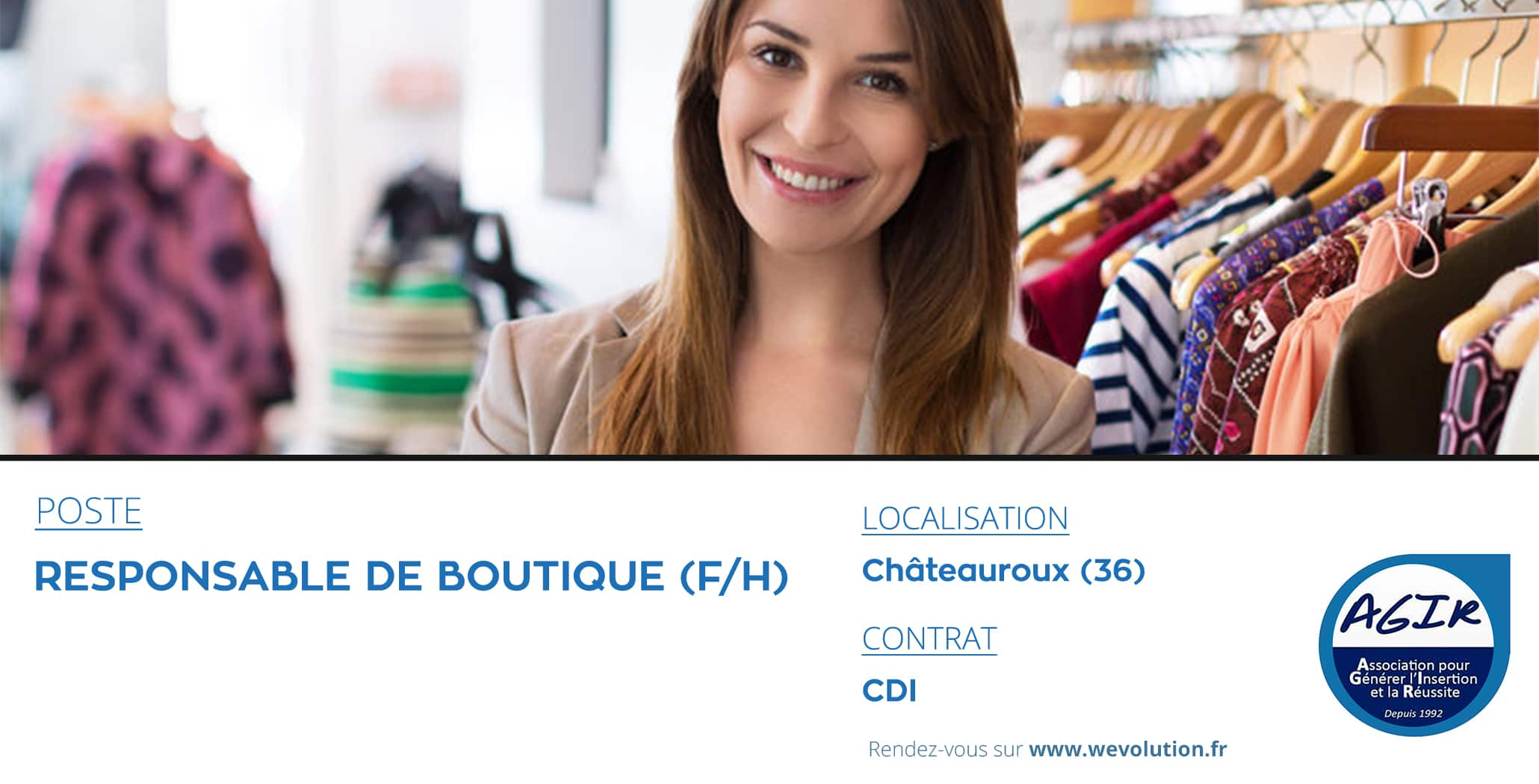 RESPONSABLE BOUTIQUE- AGIR