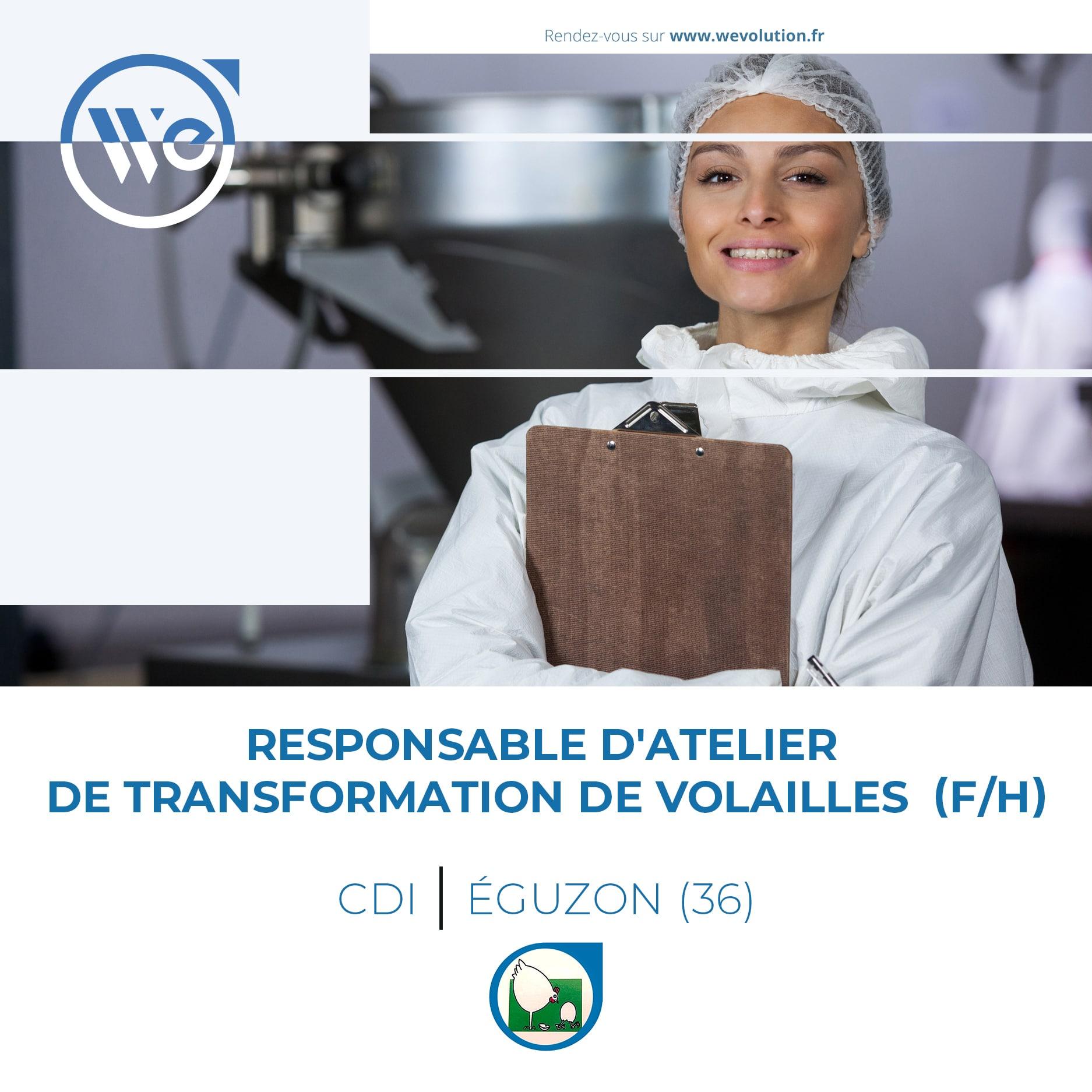 RESPONSABLE ATELIER DE TRANSFORMATION DE VOLAILLES (F/H) – LA FERME DU PRE CAILLET